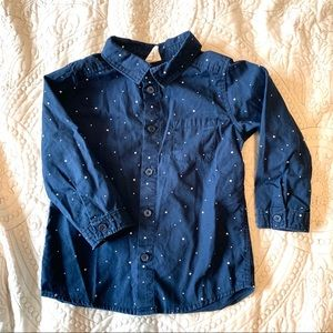 12-18m Button Up Blue with Blue & White Stars